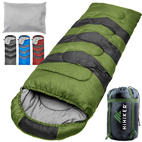 hihiker camping sleeping bag with travel pillow